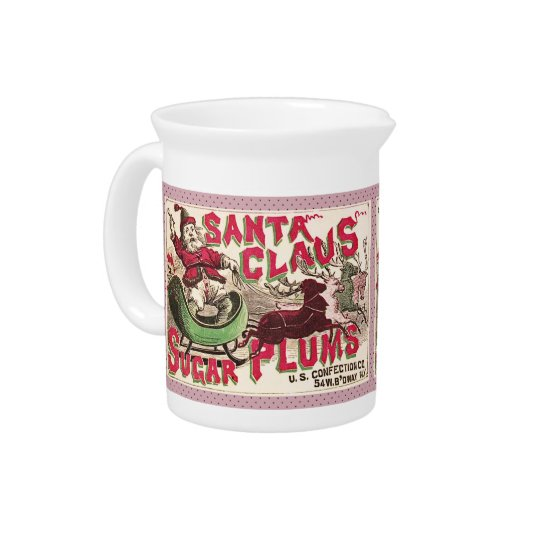 Santa Claus Christmas Sugar Plum Candy Pitcher