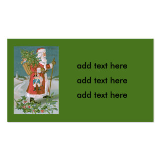 Santa Claus Christmas Tree Basket Toys Holly Pack Of Standard Business Cards