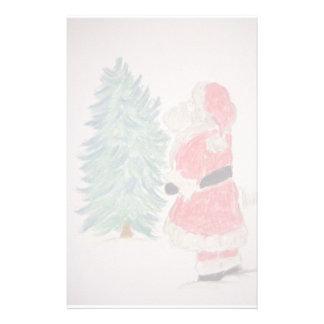 Santa Claus & Christmas Tree Customized Stationery