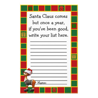 Santa Claus Christmas Wishes List for Kids Flyer
