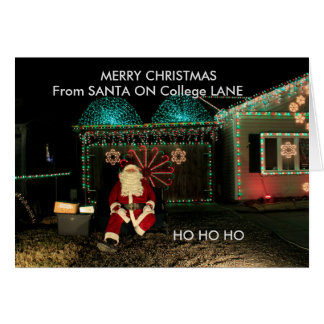 Santa Claus Closeup Christmas Card on College Lane