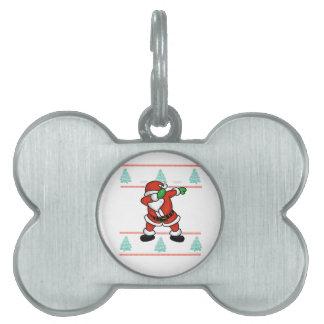 Santa Claus dab dance ugly christmas T-shirt Pet Tag