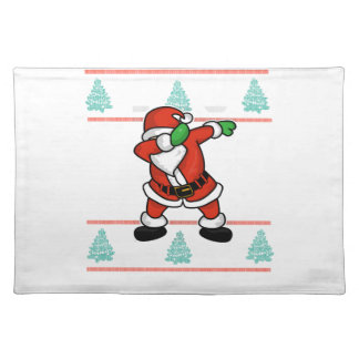 Santa Claus dab dance ugly christmas T-shirt Placemat