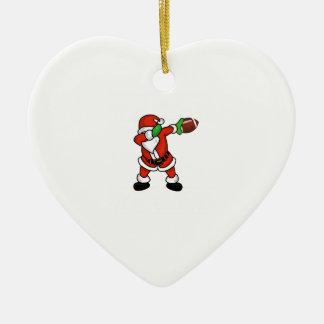 Santa Claus dabbing Christmas Football touchdown Ceramic Ornament