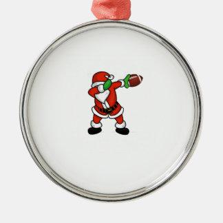 Santa Claus dabbing Christmas Football touchdown Metal Ornament