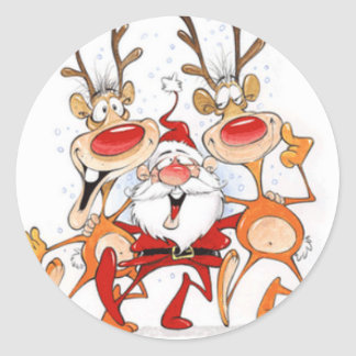 santa-claus-dance round sticker