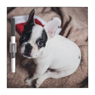 Santa claus dog -funny pug - dog claus dry erase board