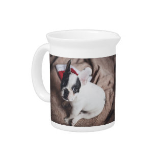 Santa claus dog -funny pug - dog claus pitcher