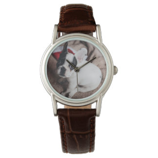 Santa claus dog -funny pug - dog claus watch