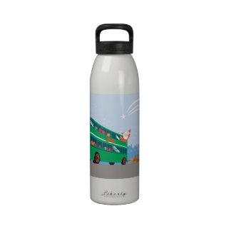 Santa Claus Double Decker Bus Water Bottles