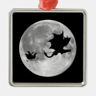 Santa Claus Dragon Rider Sleigh Ride Metal Ornament