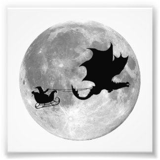 Santa Claus Dragon Rider Sleigh Ride Photographic Print