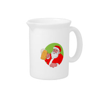 Santa Claus Drinking Beer Drawing Pitcher
