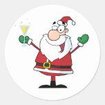 Santa Claus Drinking Champagne Round Sticker