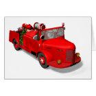 Santa Claus Driving A Fire Truck Card