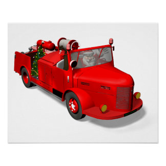 Santa Claus Driving A Fire Truck Poster