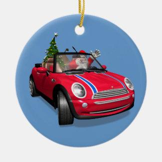 Santa Claus Driving A Mini Ceramic Ornament