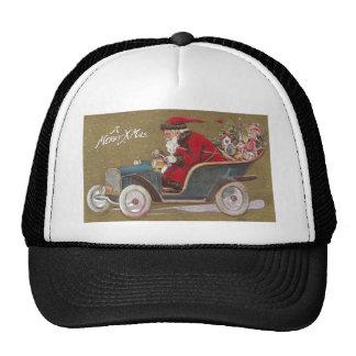 Santa Claus Driving Blue Roadster Trucker Hat