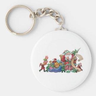 Santa Claus, Elves and Toys Christmas Keychain