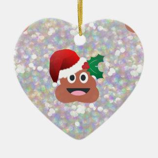 santa claus emoji ceramic ornament