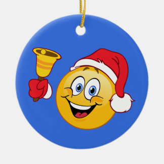 Santa Claus Emoji Ringing Bell Ornament