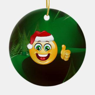 santa claus emojis ceramic ornament