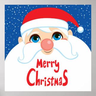 Santa Claus Face Merry Christmas Poster
