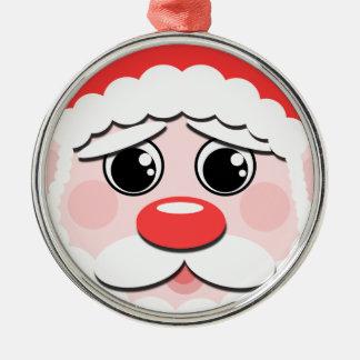 Santa Claus Face Silver-Colored Round Decoration