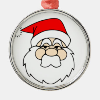 Santa Claus Face Silver-Colored Round Decoration