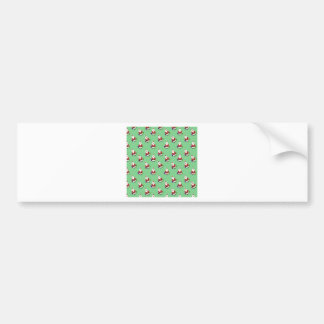 Santa Claus Father Christmas on Lime Green Pattern Bumper Sticker