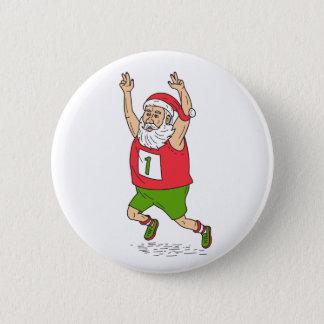 Santa Claus Father Christmas Running Marathon Cart 6 Cm Round Badge