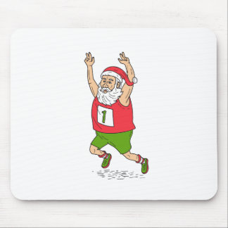 Santa Claus Father Christmas Running Marathon Cart Mouse Pad