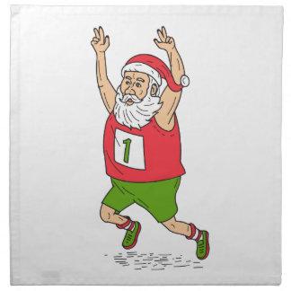 Santa Claus Father Christmas Running Marathon Cart Napkin