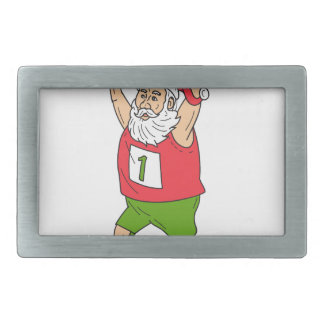 Santa Claus Father Christmas Running Marathon Cart Rectangular Belt Buckles
