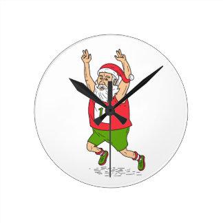 Santa Claus Father Christmas Running Marathon Cart Round Clock
