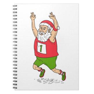 Santa Claus Father Christmas Running Marathon Cart Spiral Notebook