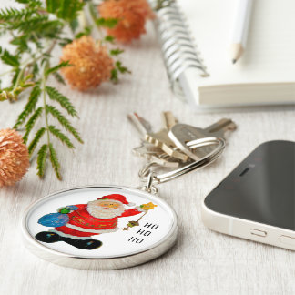 Santa Claus Father Christmas with Bag and Star Key Ring