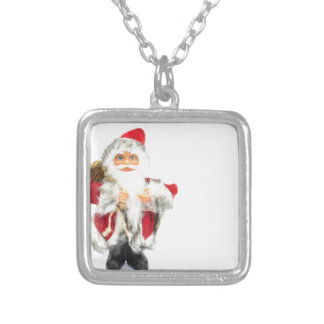 Santa Claus figurine isolated on white background Silver Plated Necklace