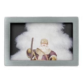 Santa Claus figurine white christmas tree on black Belt Buckle