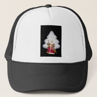 Santa Claus figurine white christmas tree on black Trucker Hat