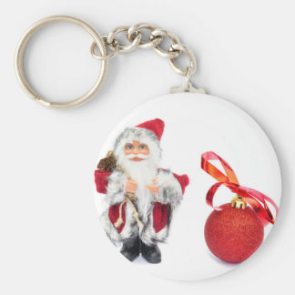 Santa Claus figurine with red christmas ball Key Ring