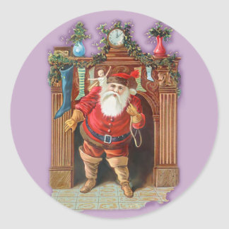 Santa Claus Fireplace Classic Round Sticker