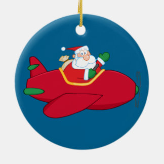 Santa-Claus-Flying-A-Plane-And-Waving Ceramic Ornament