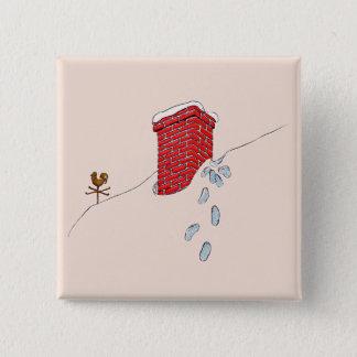 Santa Claus Footprints Chimney Snow Weathervane 15 Cm Square Badge