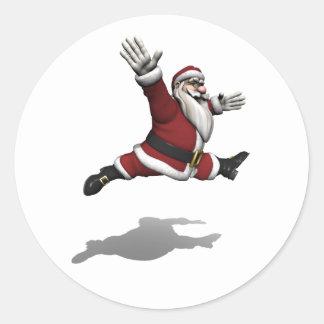 Santa Claus Grand Jete Round Sticker