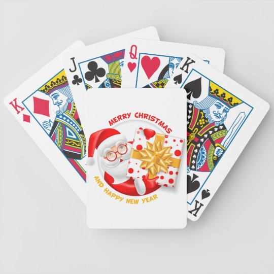 Santa Claus happy new year Bicycle Playing Cards