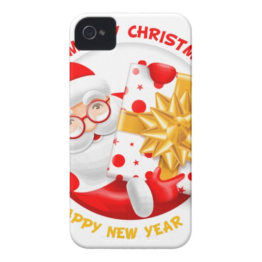 Santa Claus happy new year Case-Mate iPhone 4 Case