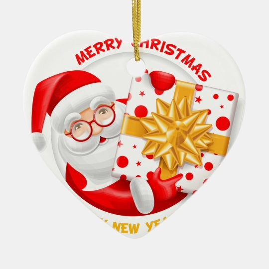 Santa Claus happy new year Ceramic Ornament