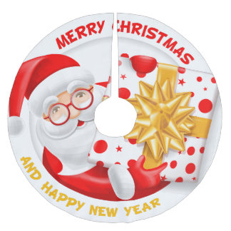 Santa Claus happy new year christmas tree skirt