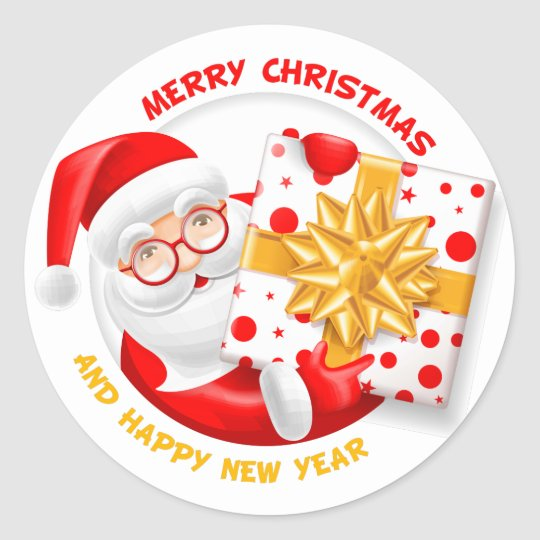 Santa Claus happy new year Classic Round Sticker